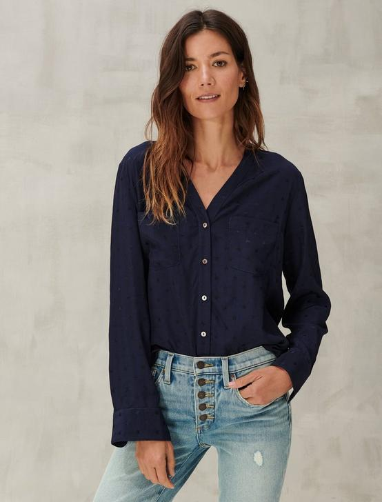 TEXTURED STAR BUTTON DOWN SHIRT, NAVY, productTileDesktop
