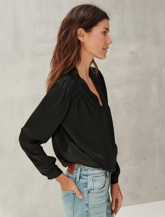 SURPLICE LONG SLEEVE TOP, 001 LUCKY BLACK, productTileDesktop