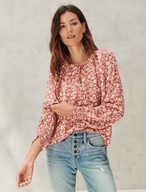 SOFT FLORAL PRINTED TOP, RED MULTI, productTileDesktop