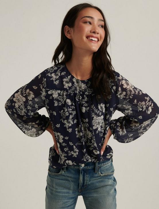 PRINTED FLORAL BLOUSE, NAVY MULTI, productTileDesktop
