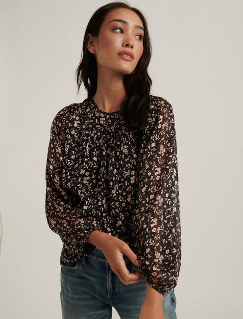 PRINTED FLORAL BLOUSE, BLACK MULTI