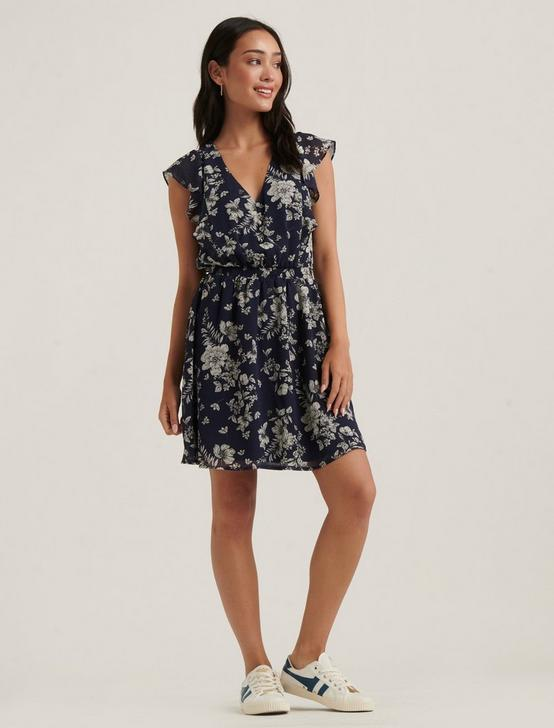 MADISON RUFFLE MINI DRESS, NAVY MULTI, productTileDesktop