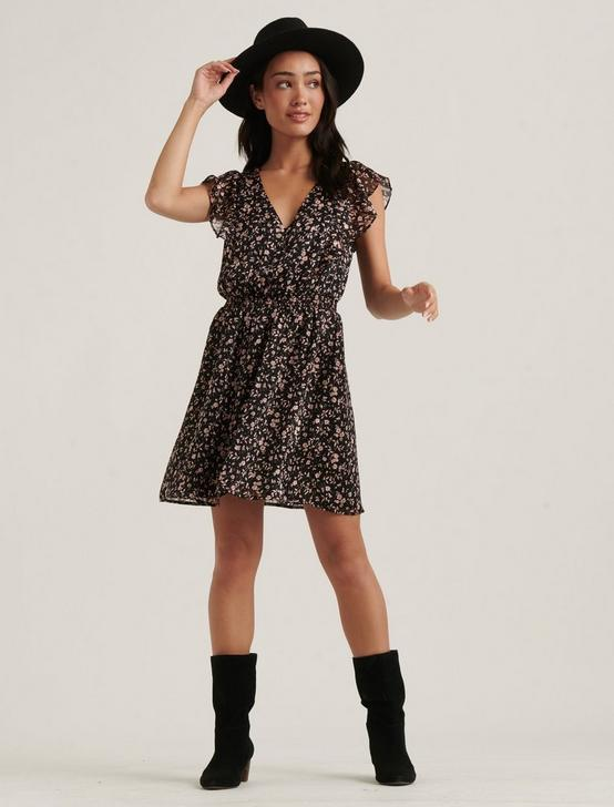 MADISON RUFFLE MINI DRESS, BLACK MULTI, productTileDesktop