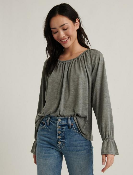 Bell Sleeve Knit Top, HEATHER GREY, productTileDesktop