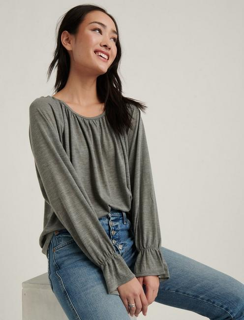 Bell Sleeve Knit Top, HEATHER GREY