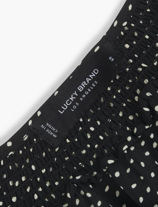 PRINTED SMOCKED PEASANT TOP, BLACK MULTI, productTileDesktop