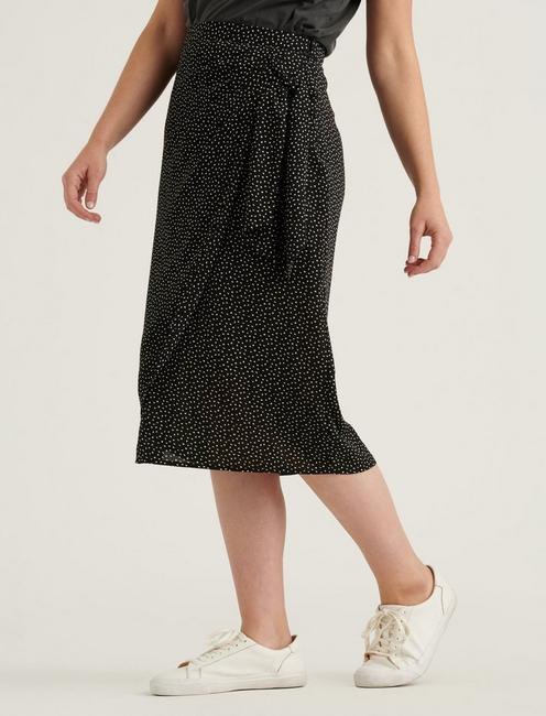 SIDE TIE MIDI SKIRT, BLACK MULTI