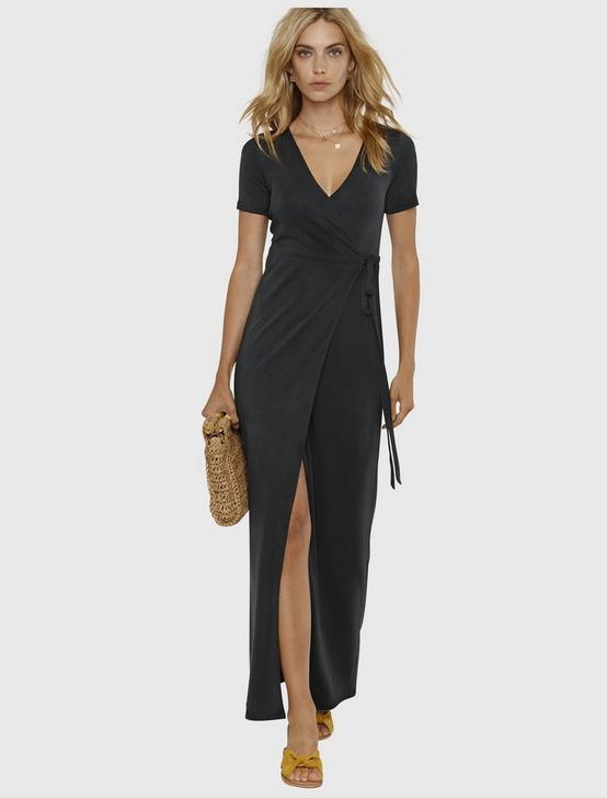 Maxi Wrap Dress, 001 LUCKY BLACK, productTileDesktop