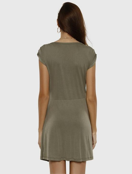 TWIST FRONT MINI DRESS, OLIVE, productTileDesktop