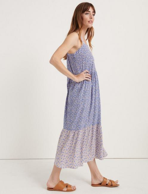 POMEGRANATE CREPE PRAIRIE DRESS, BLUE MULTI