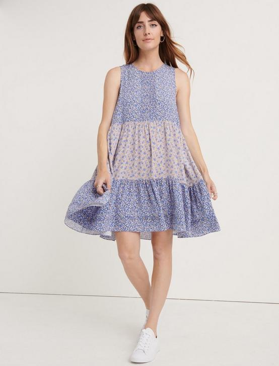 CREPE TIERED MINI DRESS, BLUE MULTI, productTileDesktop