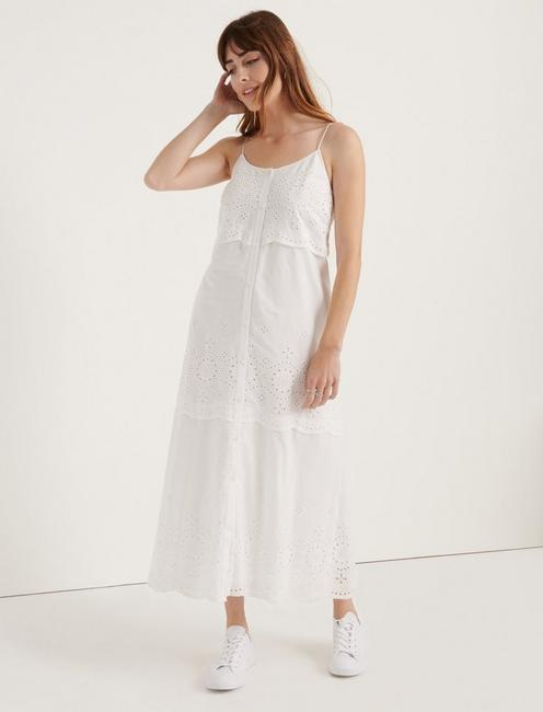 POMEGRANATE EYELET VOILE TIERED DRESS, LUCKY WHITE