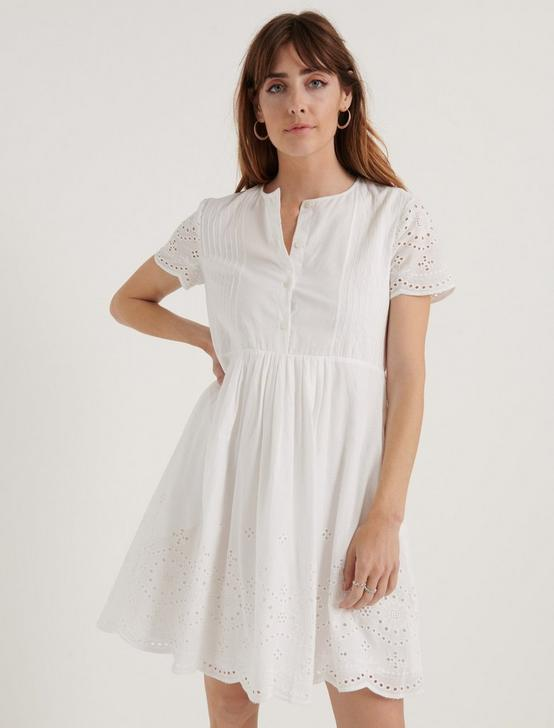 EYELET VOILE PINTUCK DRESS, LUCKY WHITE, productTileDesktop