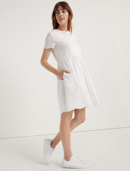 POMEGRANATE EYELET VOILE PINTUCK DRESS, LUCKY WHITE, productTileDesktop