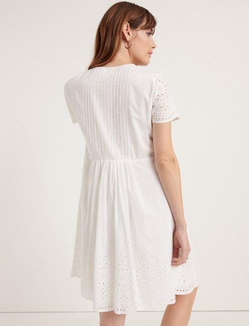 POMEGRANATE EYELET VOILE PINTUCK DRESS, LUCKY WHITE