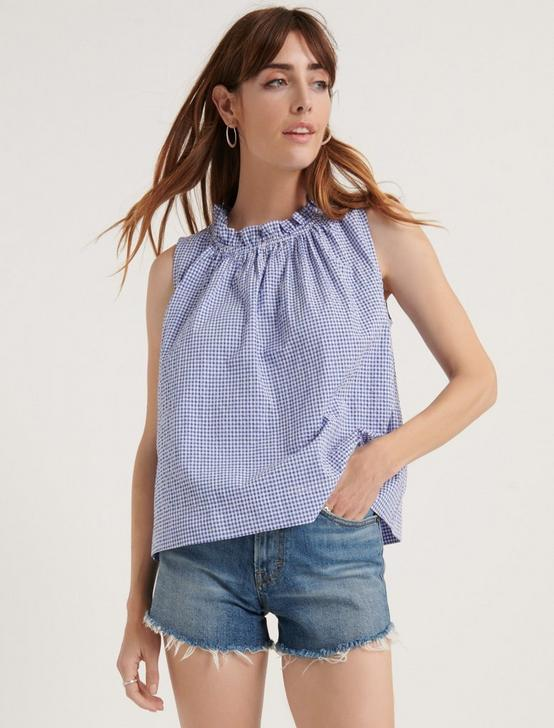 GINGHAM RUFFLE NECK BLOUSE, BLUE MULTI, productTileDesktop