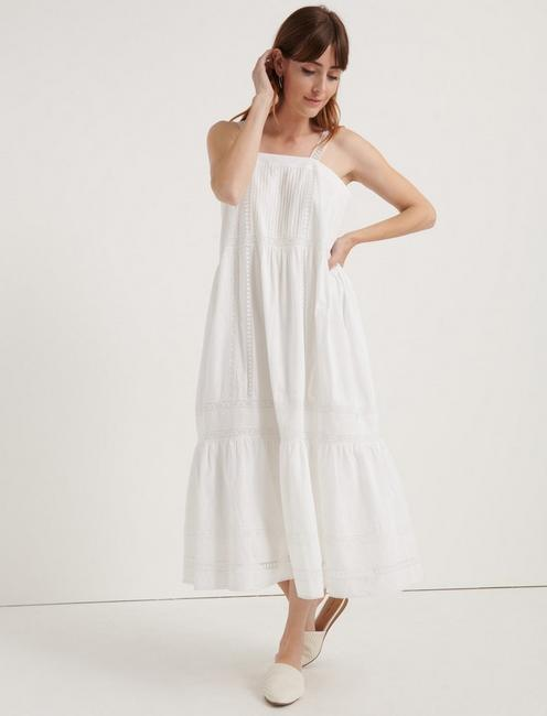 POMEGRANATE INSET COTTON VOILE PRAIRIE DRESS, LUCKY WHITE