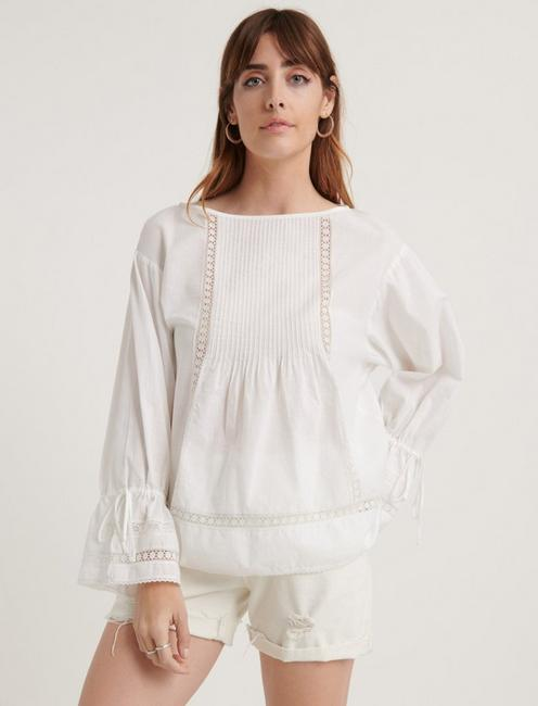 POMEGRANATE INSET COTTON VOILE RELAXED BLOUSE, LUCKY WHITE
