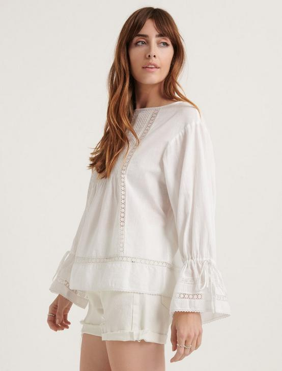 POMEGRANATE INSET COTTON VOILE RELAXED BLOUSE TOP, LUCKY WHITE, productTileDesktop