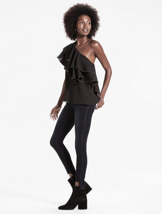 ONE SHOULDER PARTY TOP, 001 LUCKY BLACK, productTileDesktop