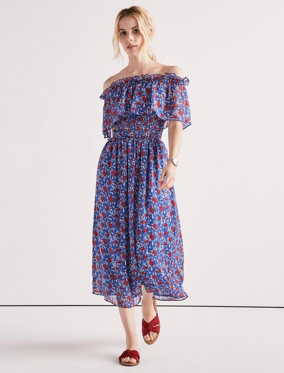 OFF SHOULDER FLORAL DRESS, BLUE MULTI, productTileDesktop