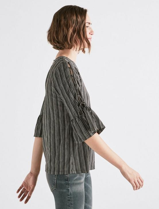 LACE-UP BELL SLEEVE TOP, BLACK MULTI, productTileDesktop
