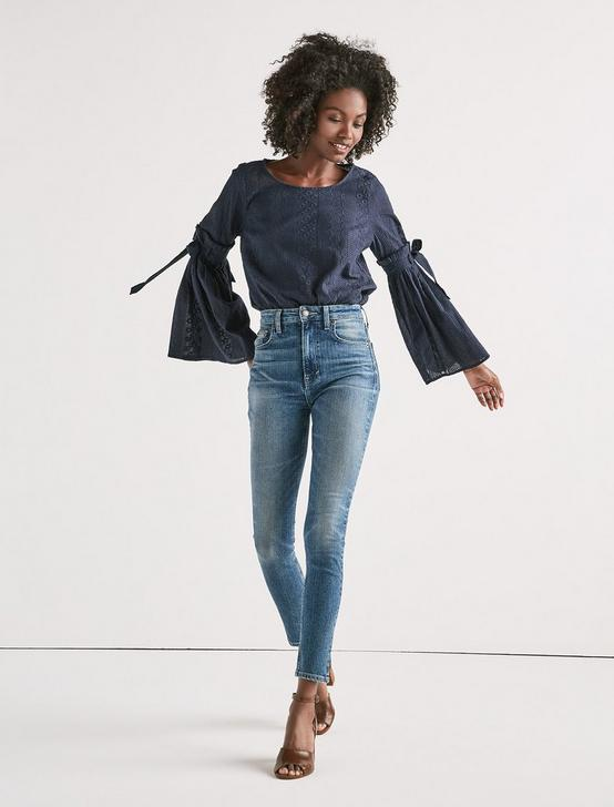 BELL SLEEVE TOP, NAVY, productTileDesktop