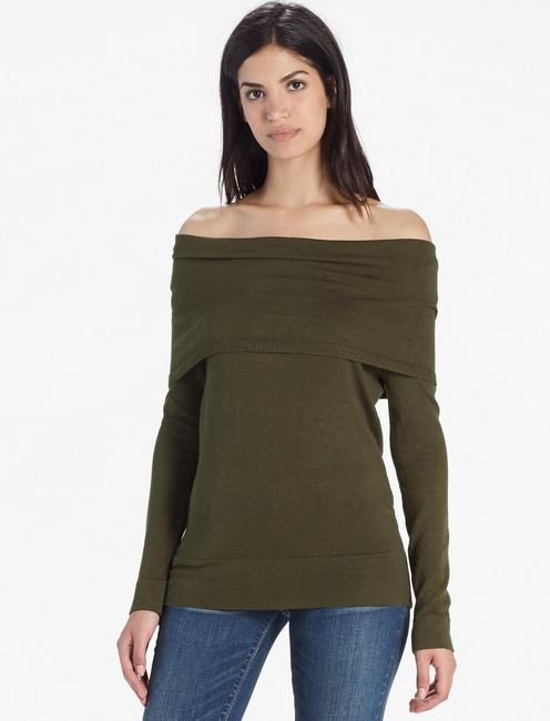 OFF THE SHOULDER FOLD OVER SWEATER,