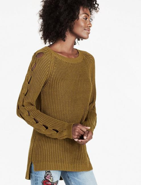 BRAID PULLOVER SWEATER, OLIVE