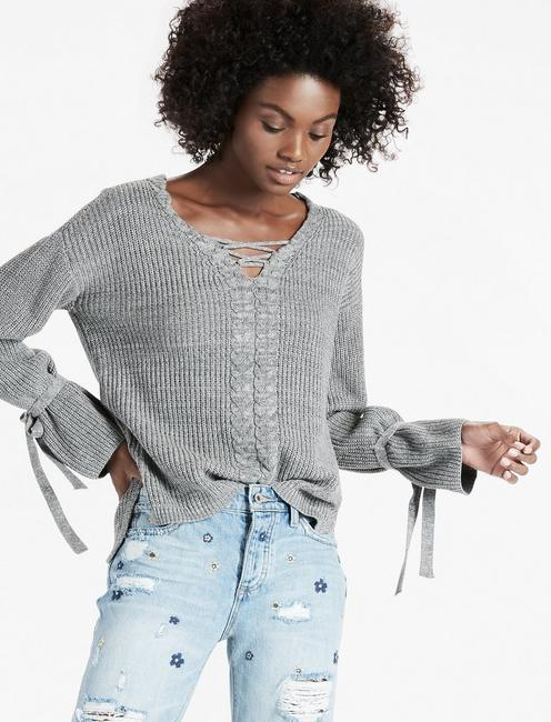46dae3b63f35a3 Lace Up Tie Sleeve Sweater | Lucky Brand