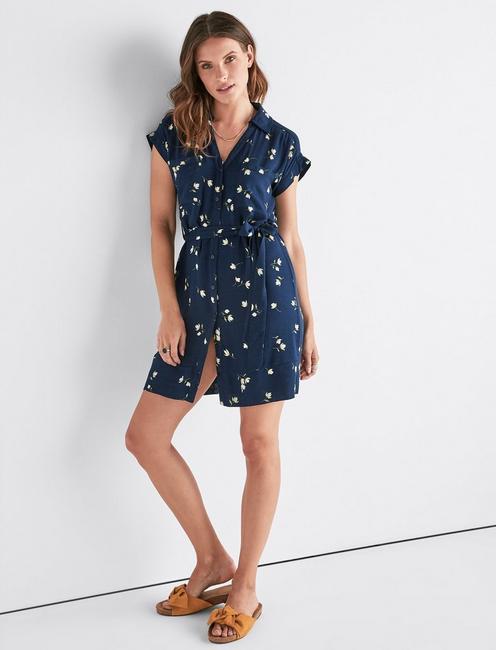 FLORAL SHIRT DRESS,