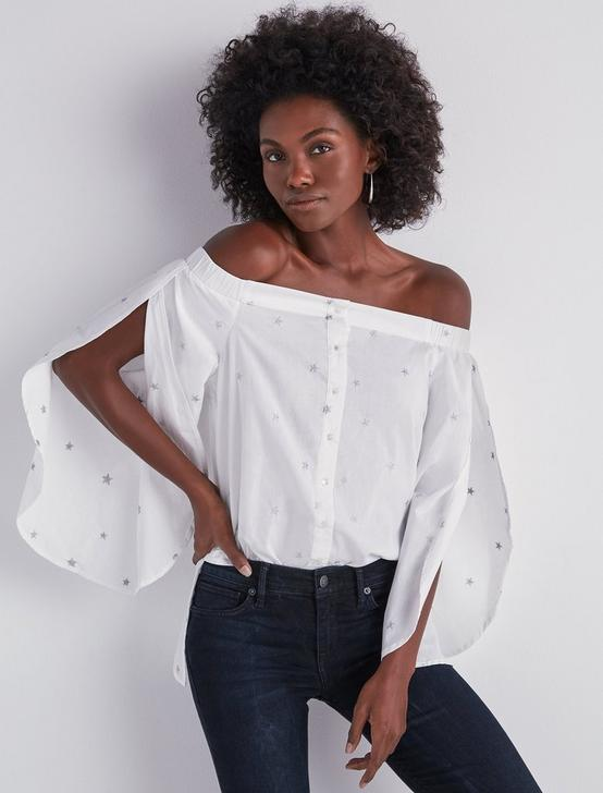 OFF SHOULDER EMBROIDERED POPLIN TOP, LUCKY WHITE, productTileDesktop
