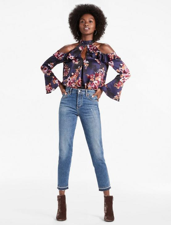 COLD SHOULDER FLORAL TOP, NAVY MULTI, productTileDesktop