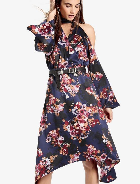 COLD SHOULDER FLORAL DRESS, NAVY MULTI, productTileDesktop