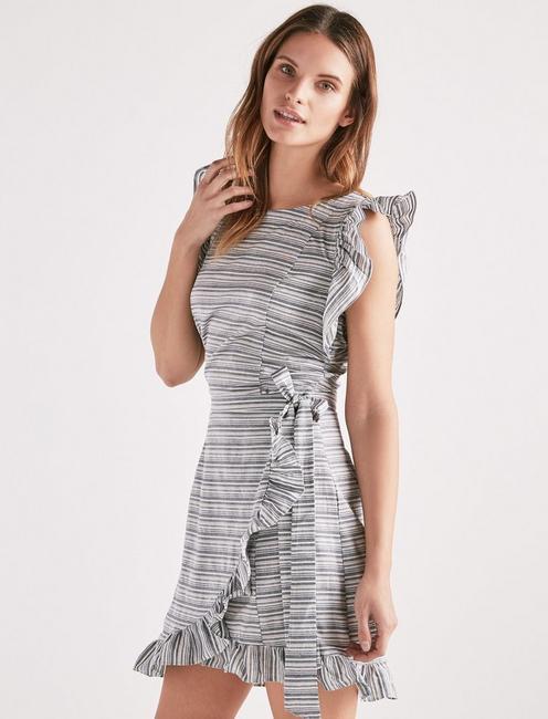 STRIPE RUFFLE DRESS,