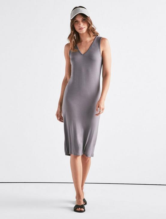 KNIT MIDI DRESS, GREY, productTileDesktop