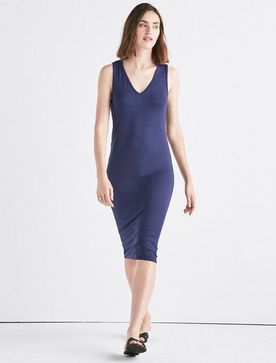 KNIT MIDI DRESS, AMERICAN NAVY, productTileDesktop