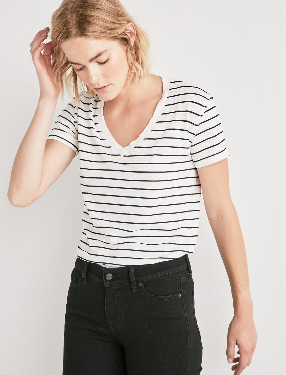 THE ANGELES V NECK STRIPED TEE., image 1