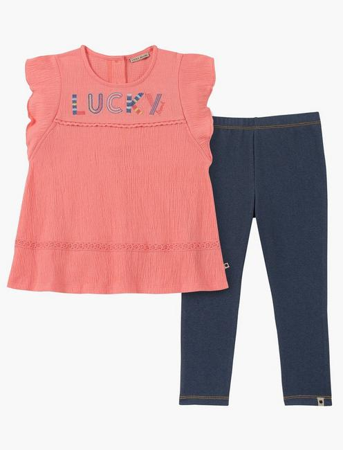 12M-24M TWO PIECE PINK AND DENIM SET,