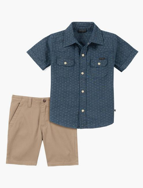 12m-24m Blue Collar Shirt And Short Set