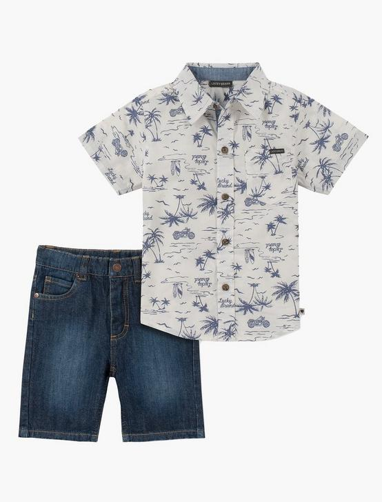 12M-24M COLLAR SHIRT AND SHORT SET, BLUE MULTI, productTileDesktop
