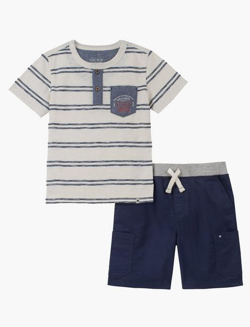 12M-24M STRIPE SHIRT AND SHORT SET, BLUE MULTI