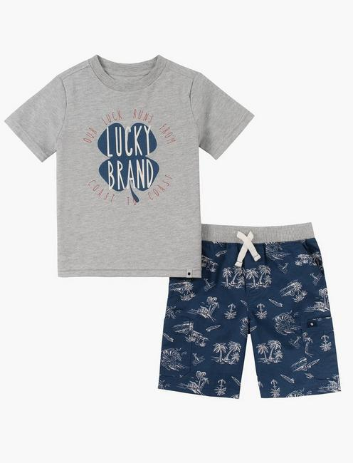12M-24M SHIRT AND PALM TREE SHORT SET, BLUE MULTI