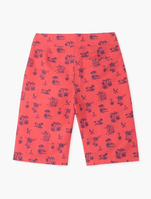 BOYS 8-20 PRINTED SURFBOARD SWIM, MEDIUM RED
