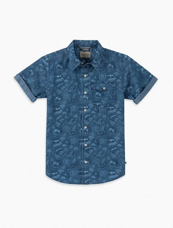 BOYS S-XL S/S BEARS UP WOVEN, OPEN BLUE/TURQUOISE, productTileDesktop