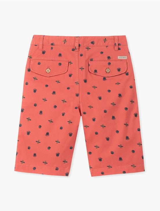 BOYS PRINTED BEAR SURFER SHORT, DARK RED, productTileDesktop