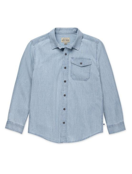 BOYS S-XL KANE BUTTON DOWN SHIRT, DARK BLUE, productTileDesktop