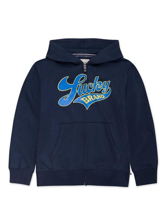 LITTLE BOYS 5-7 SCRIPT FULL ZIP HOODIE, DARK BLUE, productTileDesktop