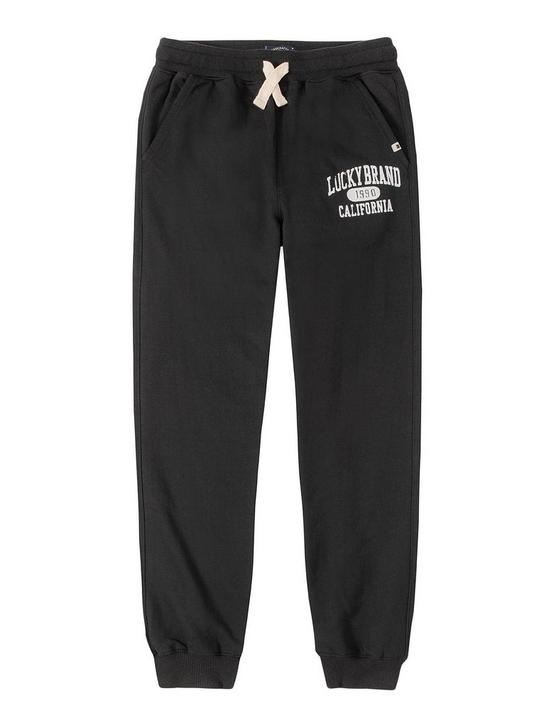 BOYS S-XL VARSITY TRACK PANT, BLACK, productTileDesktop