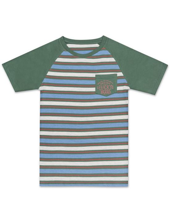 BOYS S-XL S/S STRIPE KNIT, DARK GREEN, productTileDesktop